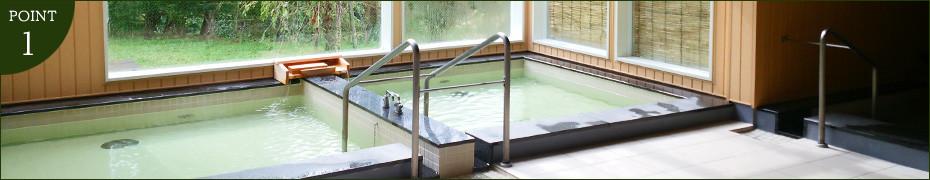 ph値9.1のアルカリ性単純温泉と、高密度の療養炭酸温泉で健康づくり