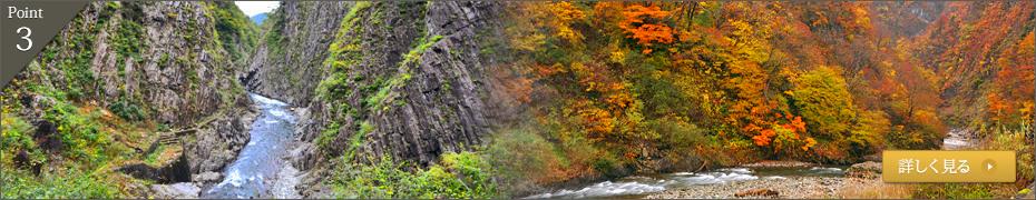 日本三大峡谷の一つ、「清津峡」がすぐそばに。