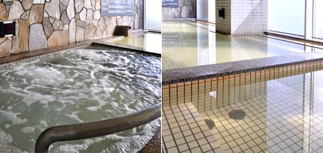 天然の硫酸塩泉と光明石温泉の2種類が楽しめる、開放的な大浴場