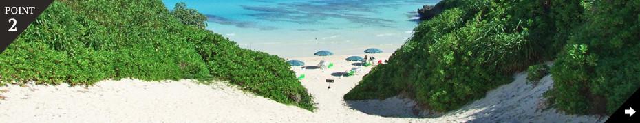 真っ白な砂浜と、透き通る青い海がすぐそこに。
