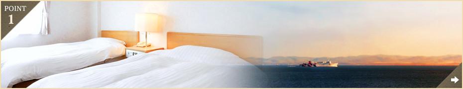 オーシャンビューの客室から望む、美しい海と朝陽のコントラスト!